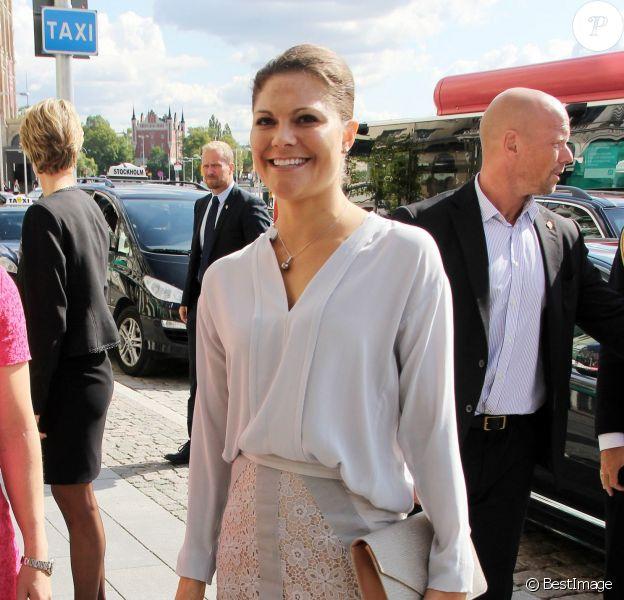 La princesse Victoria de Suède lors de la remise du Prix Hermes de l'Exportation à la Chambre de Commerce de Stockholm, le 28 août 2014.