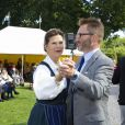 """La reine Silvia de Suède assiste au """"Pensioners Day"""" à Ekerö dans le comté de Stockholm, le 27 août 2014."""