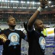 André et Jordan Ayew après la victoire de Marseille en Coupe de la ligue face à Lyon, au Stade de France à Saint-Denis, le 14 avril 2012