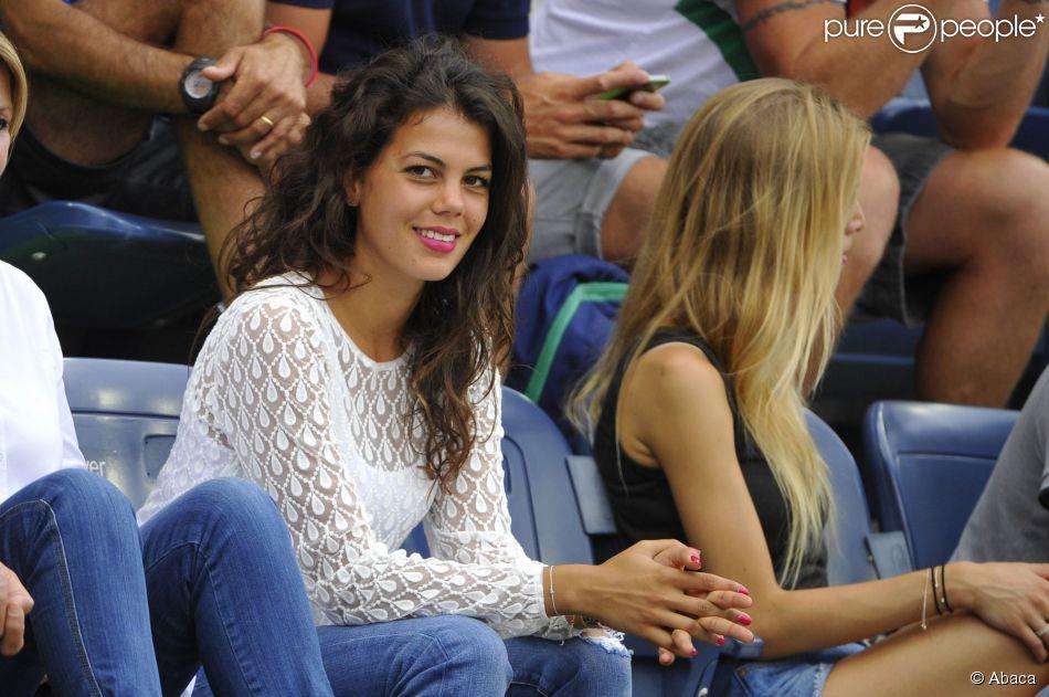 Noura, la compagne de Jo-Wilfried Tsonga, lors du match de celui-ci à l'US Open, le 30 août 2014 à l'USTA Billie Jean King National Tennis Center