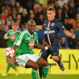 Marco Verratti lors du match entre le Paris Saint-Germain et l'AS Saint-Etienne, au Parc des Princes à Paris le 31 août 2014