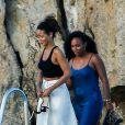 Rihanna quitte le Cap-Eden-Roc et retourne à bord de son yacht. Antibes, le 3 septembre 2014.