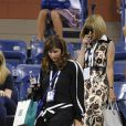 Mirka Federer et Anna Wintour lors du quart de finale entre Gaël Monfils et Roger Federer à l'US Open, à l'USTA Billie Jean King National Tennis Center de New York, le 4 septembre 2014