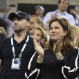 Hugh Jackman et Mirka Federer lors du quart de finale entre Gaël Monfils et Roger Federer à l'US Open, à l'USTA Billie Jean King National Tennis Center de New York, le 4 septembre 2014
