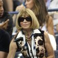 Anna Wintour lors du quart de finale entre Gaël Monfils et Roger Federer à l'US Open, à l'USTA Billie Jean King National Tennis Center de New York, le 4 septembre 2014