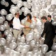 James Mischka, Naomi Campbell et Mark Badgley lors du défilé anniversaire de Badgley Mischka au Lincoln Center. New York, le 9 septembre 2014.