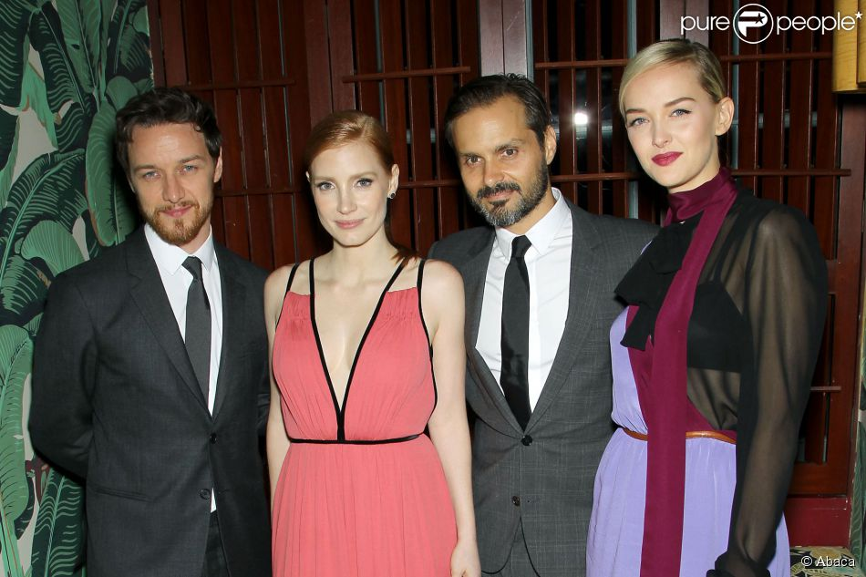 "James McAvoy, Jessica Chastain, Ned Benson et Jess Weixler lors de l'after-party de ""The Disappearance of Eleanor Rigby"" à New York, le 10 septembre 2014."