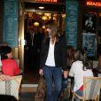 """Nicolas Sarkozy et Carla Bruni-Sarkozy sont allés voir la pièce """"Hôtel Europe"""" de Bernard-Henri Lévy au Théâtre de l'Atelier à Paris, le 12 septembre 2014."""