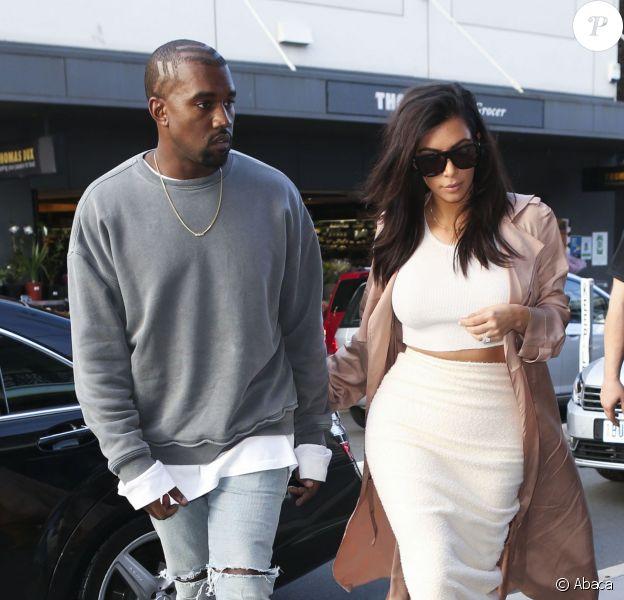 Shopping en amoureux pour Kanye West et Kim Kardashian à Sydney, le 13 septembre 2014.