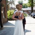 Mariage civil de l'animatrice Sandrine Corman et Michel Bouhoulle (professeur de tennis et consultant sur la RTBF, chaîne de télévision belge) à la mairie de Lasne, près de Bruxelles en Belgique, le 12 septembre 2014.
