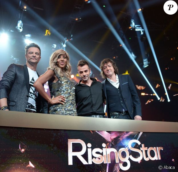 EXCLUSIF - Rising Star 2014. Le Jury : Cali, Cathy Guetta, David Hallyday, Morgan Serrano lors du Kick Off de l émission Rising Star à la cité du Cinema qui sera diffusé sur M6 à partir du Jeudi 25 septembre, Saint Denis, France le 15 septembre 2014.