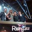 EXCLUSIF - Rising Star 2014. Le Jury : Cali, Cathy Guetta, David Hallyday, Morgan Serrano lors du lancement de l'émission Rising Star à la Cité du Cinema à Paris, le 15 septembre 2014.