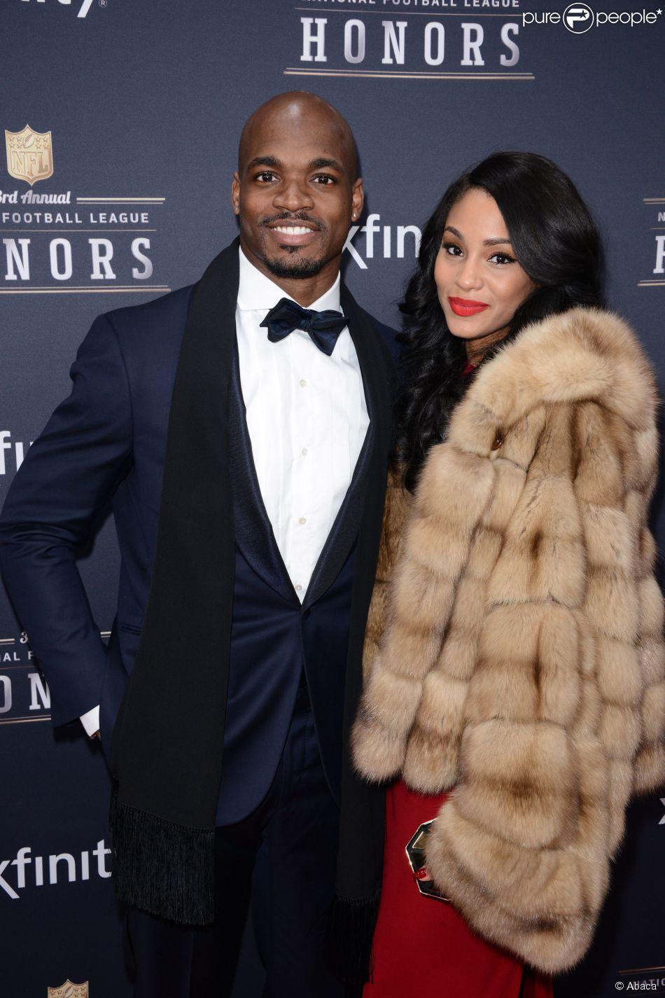 Adrian Peterson, runnning back des Vikings du Minnesota, et son épouse Ashley Brown lors d'un gala à New York 1er février 2014