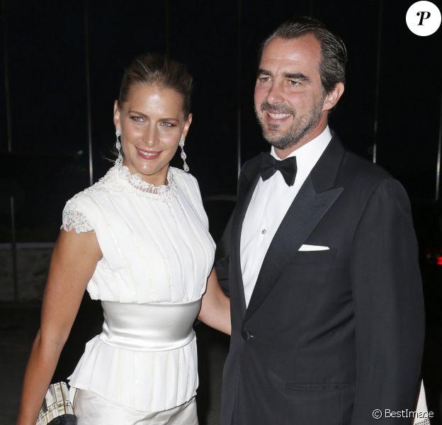 Le prince Nikolaos et la princesse Tatiana de Grèce à la soirée des noces d'or (50 ans de mariage) du roi Constantin II et de la reine Anne-Marie de Grèce, le 18 septembre 2014 au Yacht Club de Grèce du Pirée.