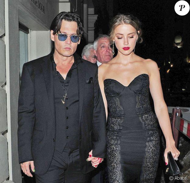 Amber Heard et Johnny Depp à Londres, le 3 septembre 2014.