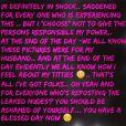 Message de Meagan Good aux hackers et à ceux qui repostent les photos de ses seins, le 21 septembre 2014.