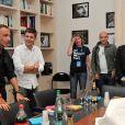 Exclusif - Thomas Sotto, Denis Olivennes - Nikos Aliagas présente son exposition photos dans les locaux d'Europe 1 à l'occasion des journées du Patrimoine à Paris, le 21 septembre 2014.