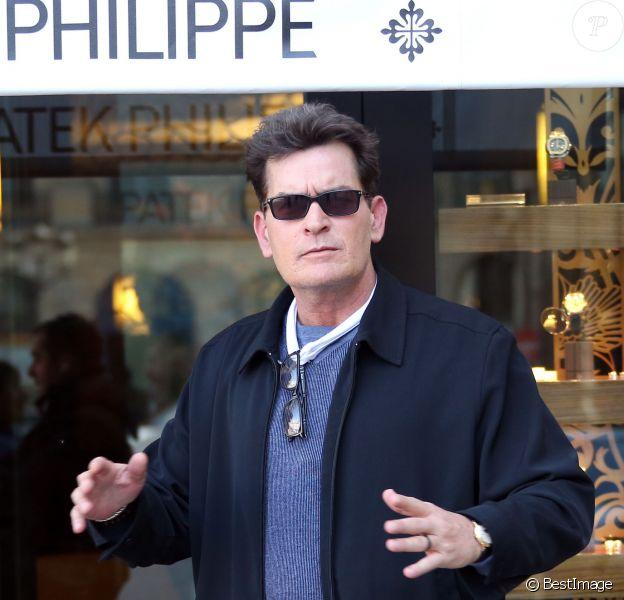 Exclusif - Charlie Sheen à Paris, le 17 avril 2014.