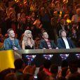 "David Hallyday, Cathy Guetta, Morgan Serrano et Cali - Emission ""Rising Star"" sur M6. Le 25 septembre 2014."