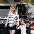 Ellen Pompeo et sa fille Stella Luna, à Los Angeles, le 14 juillet 2014