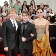 Rupert Grint, Daniel Radcliffe, Emma Watson à New York le 11 juillet 2011.