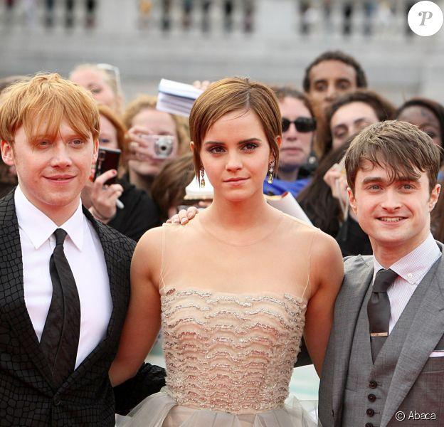 Rupert Grint, Emma Watson et Daniel Radcliffe à New York le 7 juillet 2011.
