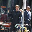 """Johnny Hallyday sur le tournage de son nouveau clip """"Seul"""" (chanson extraite de son nouvel album """"Rester Vivant""""), à Los Angeles le 12 octobre 2014."""