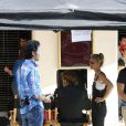 """Laeticia Hallyday et Johnny Hallyday sur le tournage de son nouveau clip """"Seul"""" (chanson extraite de son nouvel album """"Rester Vivant"""") à Los Angeles, le 12 octobre 2014."""