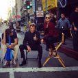 """Laeticia et Johnny Hallyday sur le tournage du clip """"Seul"""" réalisé par Pierre Rambaldi, à Los Angeles le 12 octobre 2014."""