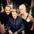 Nikos Aliagas au côté de Johnny Hallyday et Laeticia sur le tournage du nouveau clip de Johnny, à Los Angeles le 12 octobre 2014.