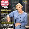 Charlene de Monaco, enceinte de jumeaux, pose à New York pour la couverture du magazine Point de Vue, édition du 1er octobre 2014