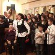 Mireille Mathieu et ses treize frères et soeurs célèbrent en famille les 90 ans de sa maman Marcelle-Sophie à Coudekerque-Branche, le 17 décembre 2011.
