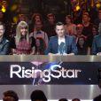 EXCLUSIF - Rising Star 2014.David Hallyday, Cathy Guetta, Morgan Serrano, Cali lors du Prime 5 de Rising Star diffusé sur M6, a la cité du Cinéma a Saint-Denis, France le 23 octobre 2014.