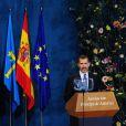 Le roi Felipe VI et la reine Letizia d'Espagne ont présidé la cérémonie de remise des prix Prince des Asturies au Théâtre Campoamor à Oviedo, le 24 octobre 2014.
