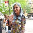 La chanteuse Kesha, avec les cheveux teints en bleu, sort de son hôtel à New York, le 24 juillet 2014.