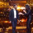 Tarik et Faustine Bollaert lors du septième prime time de Rising Star sur M6, le jeudi 6 novembre 2014.