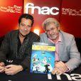 """Exclusif - Laurent Gerra et le dessinateur Achdé (Hervé Darmenton) rencontre des fans à la Fnac des Ternes à Paris, l'occasion de la sortie du dernier album des aventures de Lucky Luke, """"Les Tontons Dalton"""", le 4 novembre 2014."""