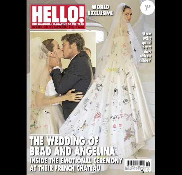 """La couverture du magazine """"Hello!"""" avec le mariage d'Angelina Jolie et Brad Pitt qui s'est déroulé dans le sud de la France en août 2014."""