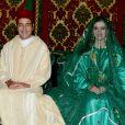 Le prince Moulay Rachid du Maroc et la princesse Lalla Oum Keltoum (née Boufares) lors de leur mariage le 13 novembre 2014 au palais royal de Rabat.