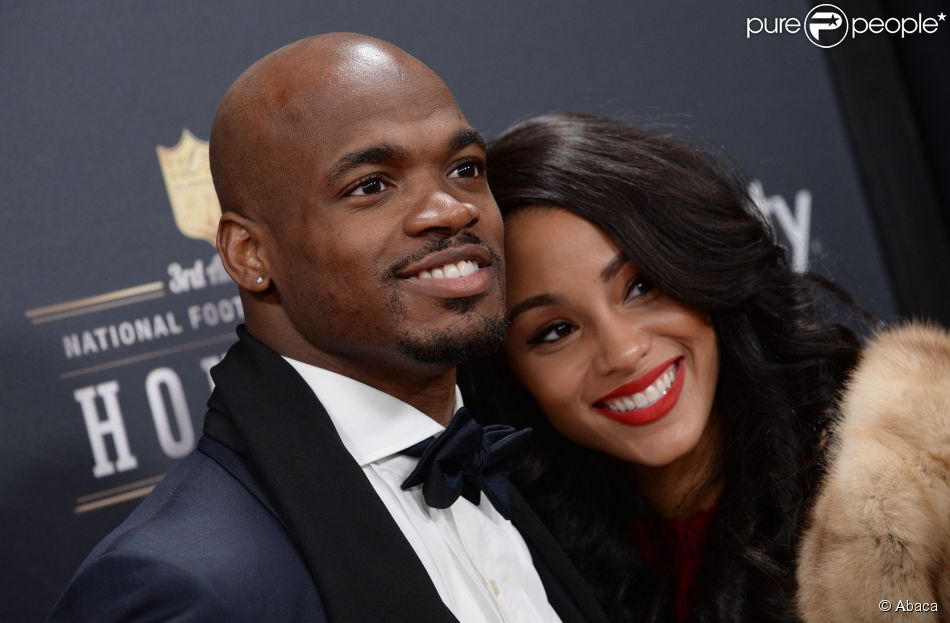 Adrian Peterson, runnning back des Minnesota Vikings, et son épouse Ashley Brown lors d'un gala à New York le 1er février 2014