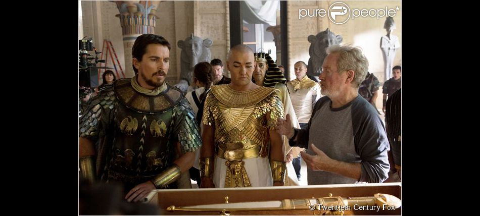 Christian Bale et Joel Edgerton face à Ridley Scott sur le tournage d'Exodus - Gods and Kings