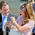 La princesse Madeleine de Suède et Christopher O'Neill avec leur fille la princesse Leonore lors de son baptême, le 8 juin 2014 à Stockholm