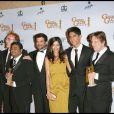 L'équipe du film Slumdog Millionaire dans la salle de presse des Oscars le 11 janvier 2009