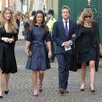 Pippa Middleton avec Ben Fogle et sa femme Marina lors d'un service à la mémoire de Sir David Frost à l'abbaye de Westminster le 13 mars 2014