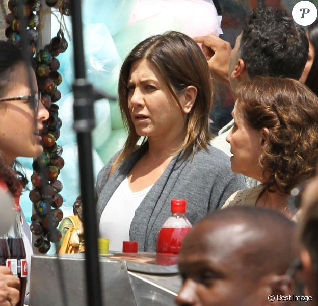 "Jennifer Aniston sur le tournage du film ""Cake"" à Los Angeles, le 22 avril 2014."