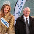 Camille Cerf, miss France 2015, rencontre le maire de Coulogne, la ville dont elle est originaire, le samedi 20 décembre 2014.