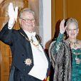 La reine Margrethe II de Danemark, accompagnée par son époux le prince Henrik, organisait le 1er janvier 2015 la traditionnelle réception du Nouvel An à Amalienborg, Copenhague.