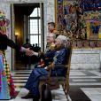 Le prince Frederik et la princesse Mary de Danemark secondaient la reine Margrethe II et le prince Henrik le 6 janvier 2015 au palais de Christiansborg lors de la deuxième réception officielle du Nouvel An, pour le corps diplomatique et les ambassadeurs.