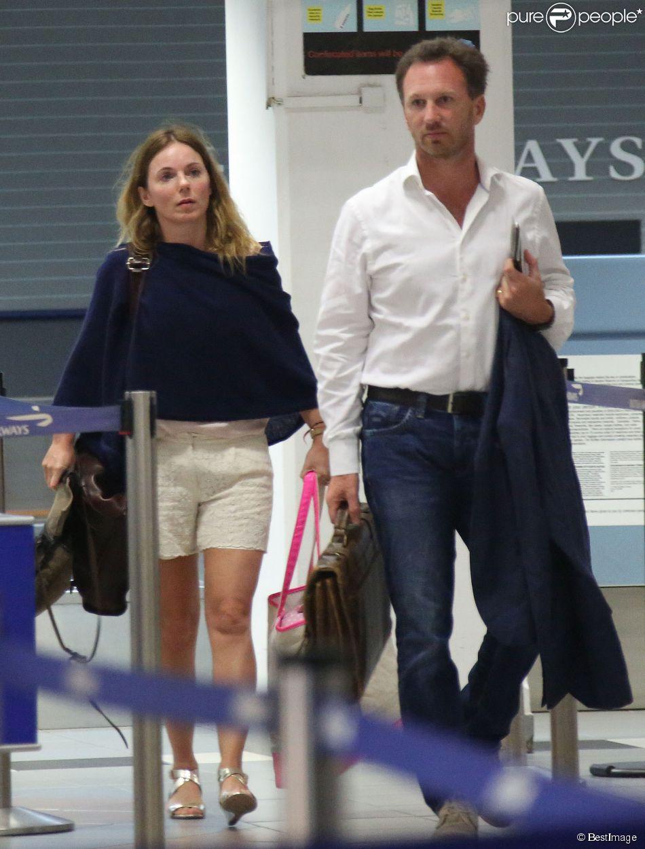 Exclusif - Geri Halliwell et son fiancé Christian Horner rentrent à Londres après avoir passé des vacances aux Caraïbes, le 5 janvier 2015