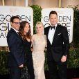 Chris Pratt et sa femme Anna Faris, Robert Downey Jr et sa femme Susan Downey - La 72e cérémonie annuelle des Golden Globe Awards à Beverly Hills, le 11 janvier 2015